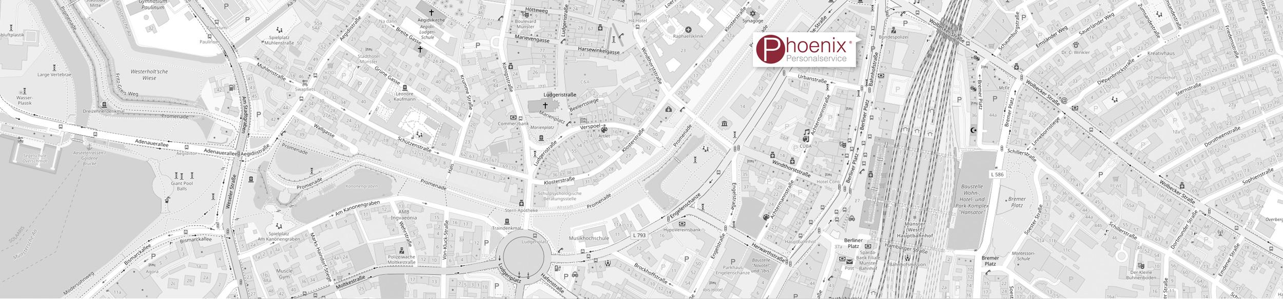 Karte Standort PHOENIX PERSONALSERVICE