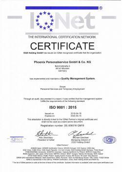 IQ-Net Certificate 2019